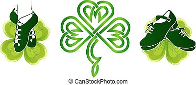 tréboles, irlandés, verde, shoes, bailando
