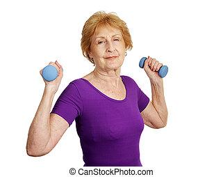 &, tréning, büszke, -, idősebb ember, erős