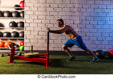 tréning, rámenős, szánkó, mér, tol, ember
