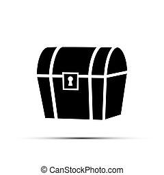 trésor, isolé, arrière-plan., poitrine, vecteur, noir, blanc, element., icône