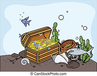 trésor, vecteur, -, sunken, éléments