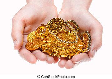 trésors, tenant main