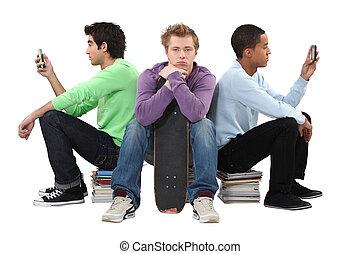 três, aborrecido, macho, estudantes