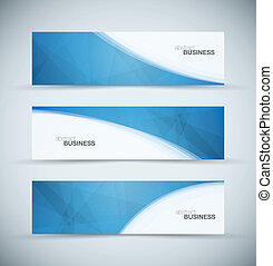três, abstratos, azul, negócio, cabeçalho