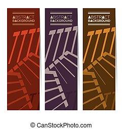 três, abstratos, bandeiras verticais