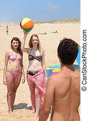 três, adolescente, praia