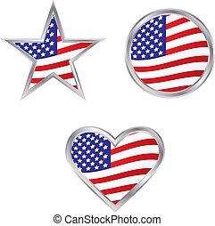 três, bandeira americana, ícones