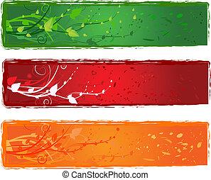 três, bandeira, com, redemoinho, desenho