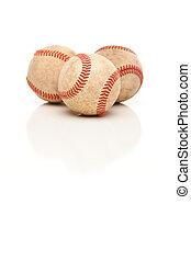 três, baseballs, isolado, ligado, refletivo, branca