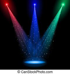 três, cônico, rgb, eixos, luz