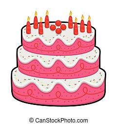 três, camada, bolo aniversário