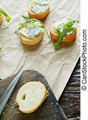 três, canape, com, queijo azul, vista superior