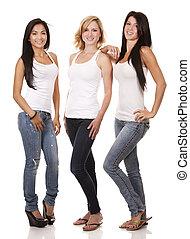 três, casual, mulheres