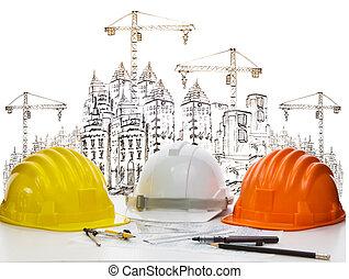três, cor, de, segurança, construção