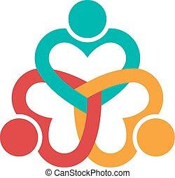 três, coração, amor, pessoas, logotipo
