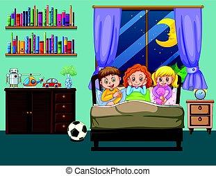 três, crianças, cama