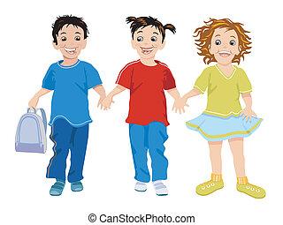 três, crianças pequenas, feliz