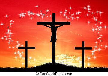 três, crucifixos