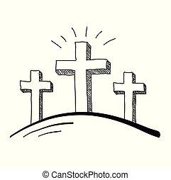 três, cruzes, doodle