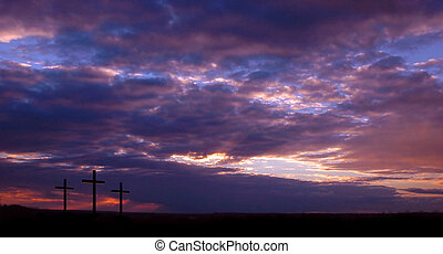 três, cruzes, e, pôr do sol