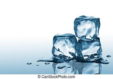 três, cubos gelo