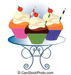 três, cupcakes