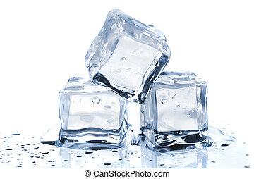 três, derretendo, cubos gelo