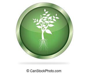 três dimensional, círculo, botão, com, árvore, ícone, vetorial, ilustração