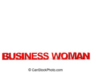 três dimensional, mulher negócio, texto