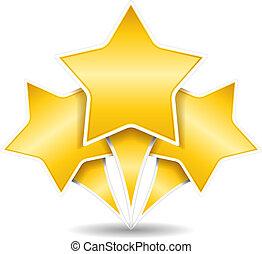 três, dourado, estrelas