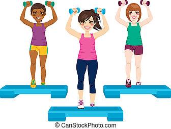 três, exercício, mulheres