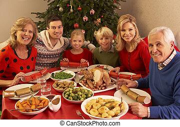 três família geração, desfrutando, refeição christmas, casa
