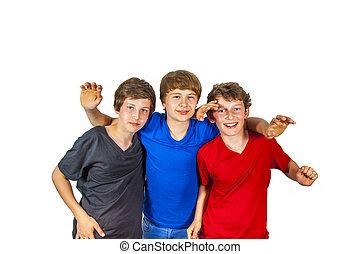 três, feliz, alegre, amigos, apreciar, vida
