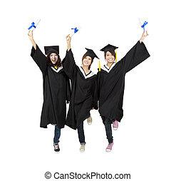 três, feliz, asiático, graduação, estudante, isolado, branco