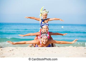 três, feliz, crianças, ligado, beach...
