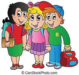 três, feliz, escola brinca