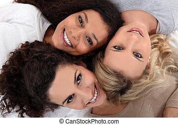 três, femininas, amigos, dite, junto