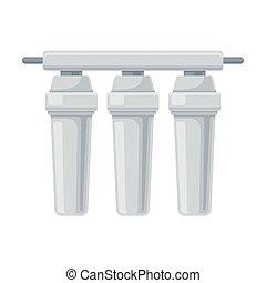 três, filtros, apartamento, vetorial, ilustração, sistema, água