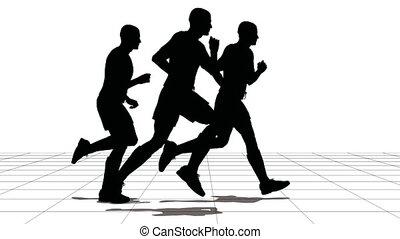 três homens, de, a, desportista, corrida, ligado, grid.