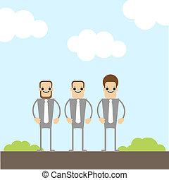 três, homens negócios