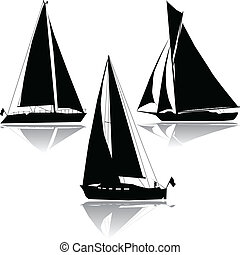 três, iates, velejando, silueta