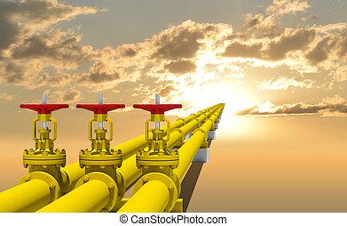 três, industrial, canos, para, gás, transmissão