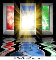 três, janelas, com, sol