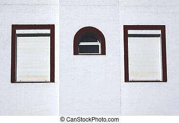três, janelas, ligado, um, parede
