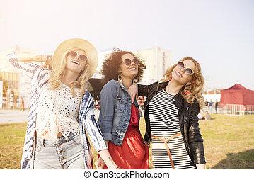 três, jovem, e, na moda, meninas