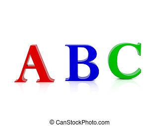 três, letras, de, a, alfabeto