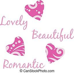três, luminoso, roxo, corações