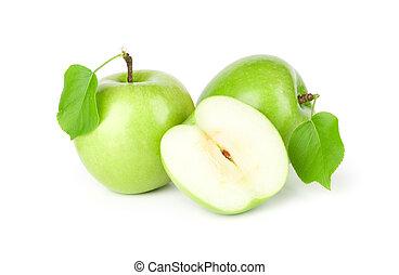 três, maçãs verdes, com, folhas