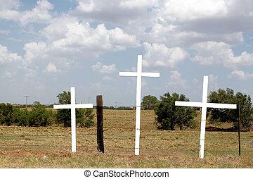 três, madeira, cruzes