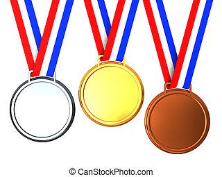 três, medalhas